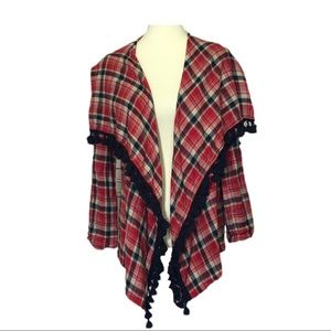Hem & Thread Red Plaid Flannel Wrap/Cardi Small